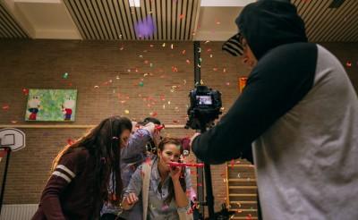 behind the scenes foto van de opnames van de videoclip van sunbird & the cage